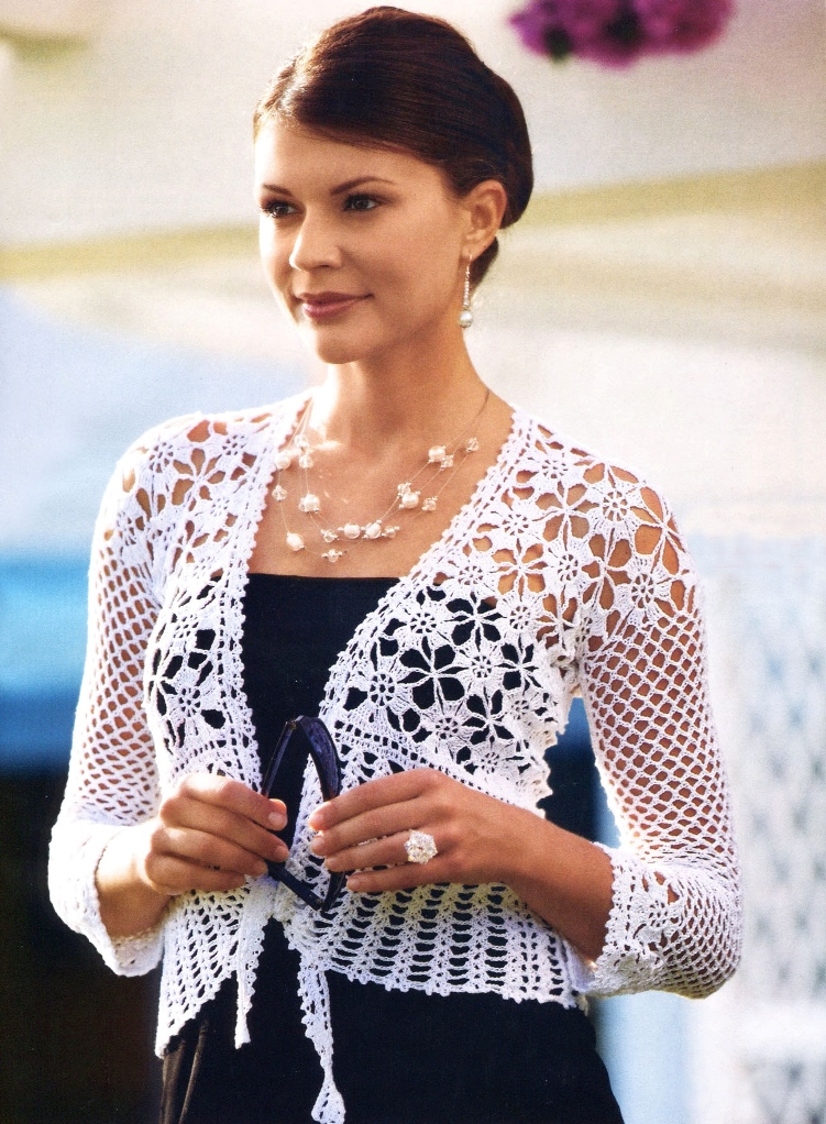 Crochet Jacket Pattern : Crochet jacket PATTERN, evening jacket pattern, crochet wedding jacket ...