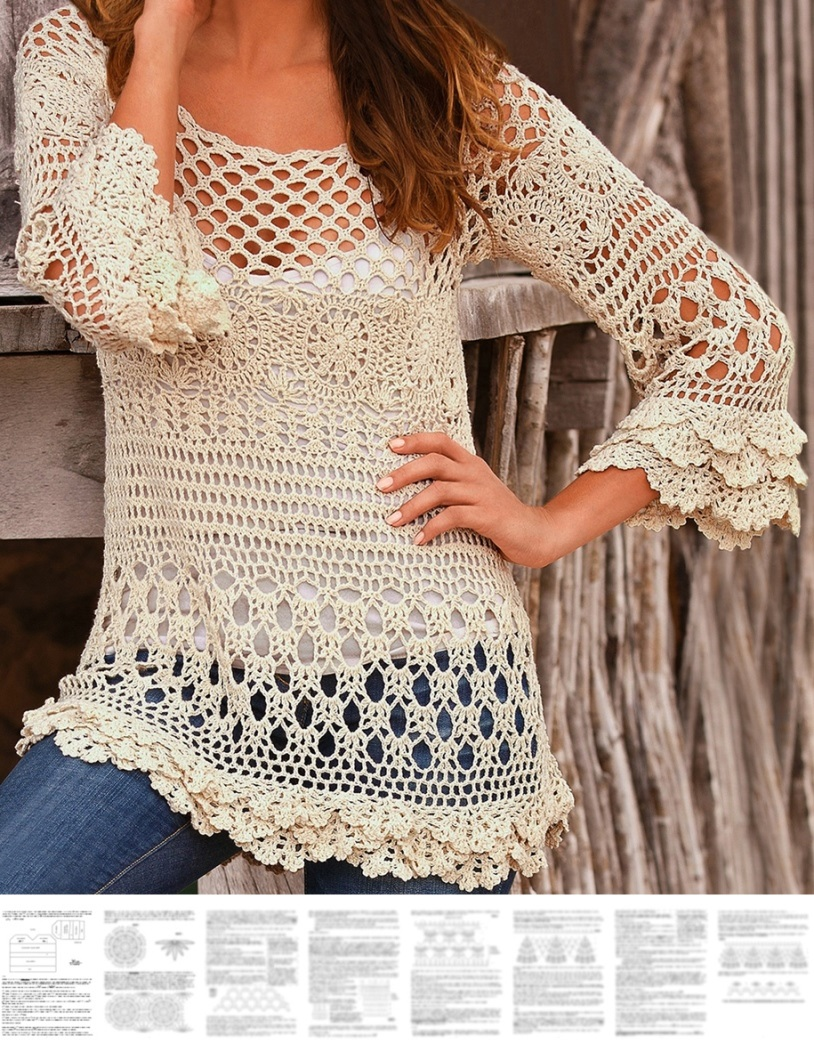 Boho Crochet Patterns : Crochet pullover PATTERN, boho tunic pattern, boho ruffle sweater ...