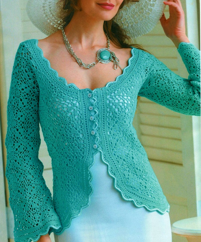 Crochet Jacket : Crochet jacket PATTERN, crochet elegant jacket for wedding party ...