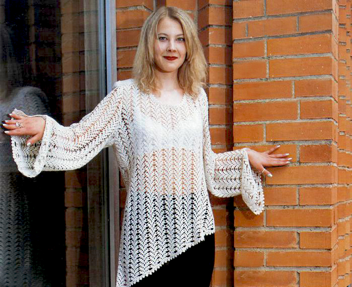 Crochet Tunic Pattern Asymmetric Autumn Spring Crochet Tunic