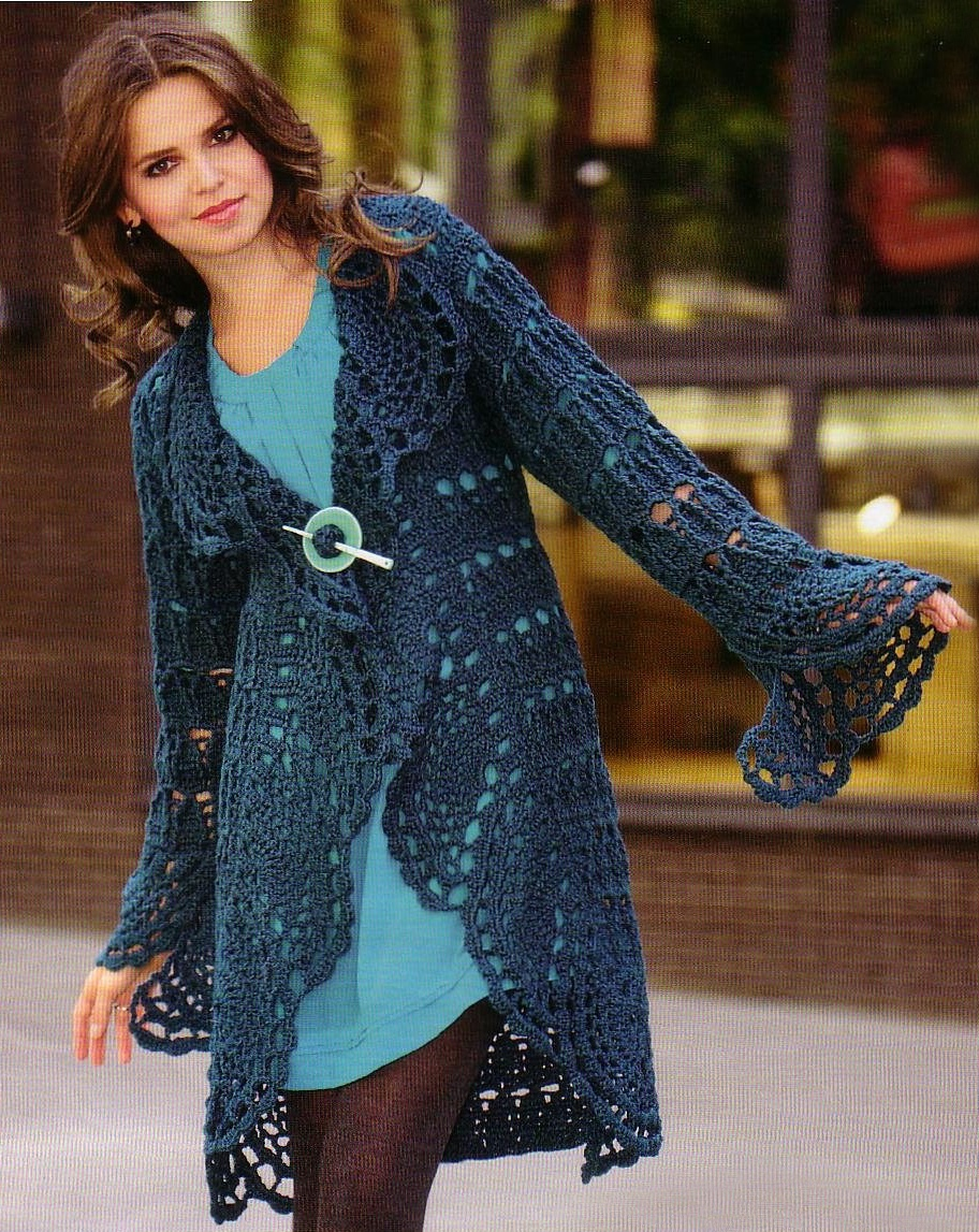 Crochet cardigan PATTERN, casual cardigan pattern, warm crochet ...
