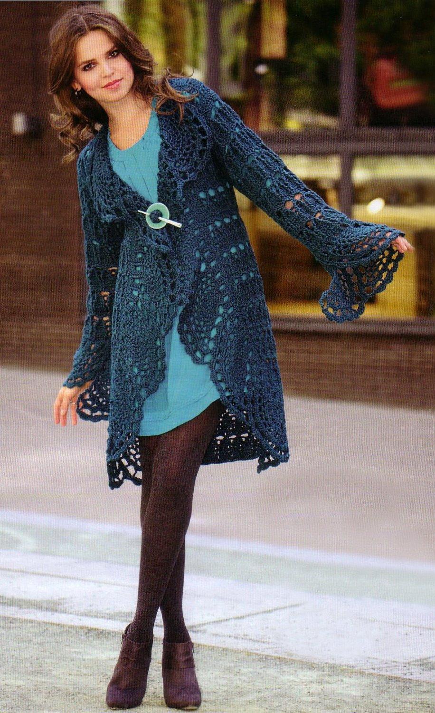 Crochet cardigan PATTERN, casual cardigan pattern, warm crochet coat ...