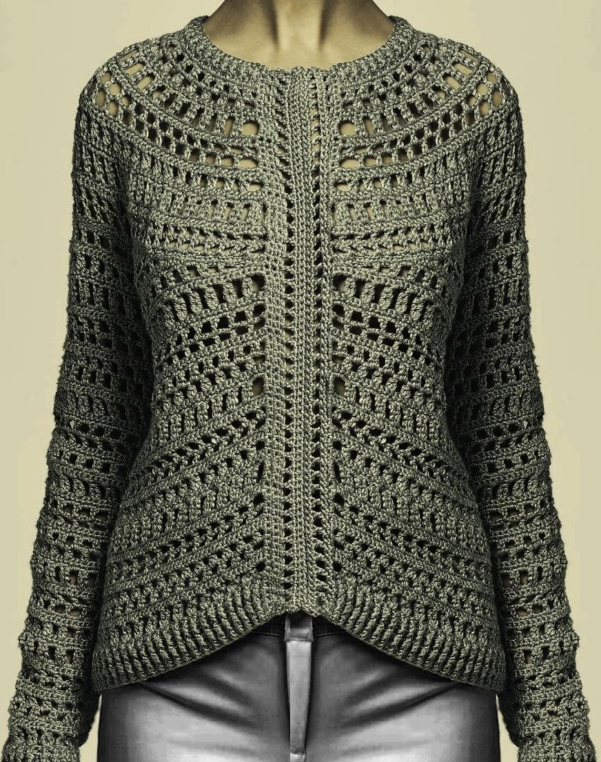Crochet pullover PATTERN, designer crochet pullover pattern, crochet ...