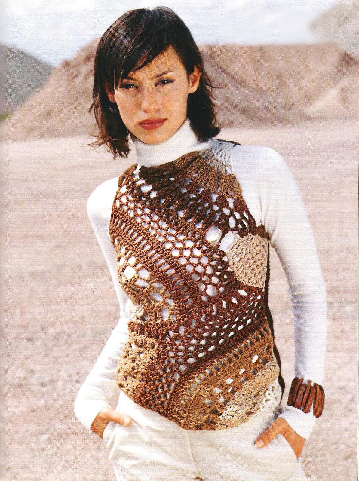 Crochet top PATTERN, boho crochet tunic pattern, patchwork crochet ...