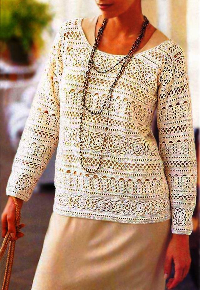 womens crochet top crochet pattern lacy crochet sweater 32 ... |Thread Crochet Top