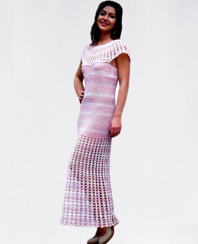 Maxi dress PATTERN with crocheted round yoke and bottom - PDF ...