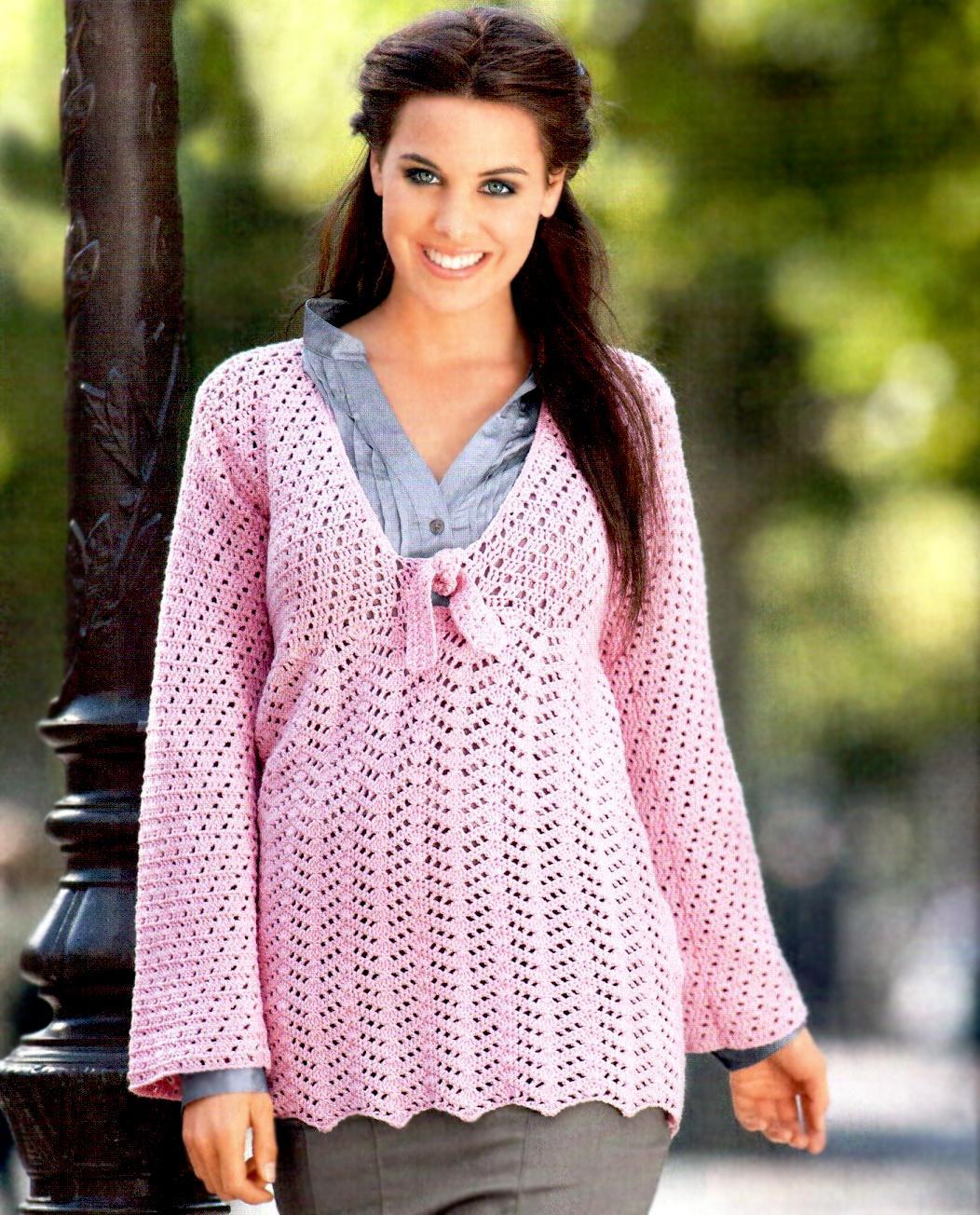 Crochet pullover PATTERN, casual crochet V-neck tunic pattern, warm ...