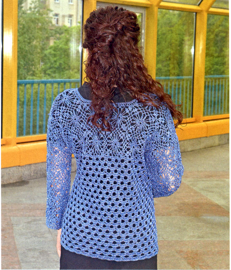 Crochet tunic pattern casual crochet blouse pattern long for Long sleeve shirt pattern