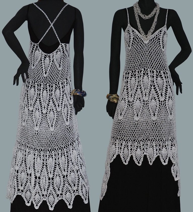 Crochet Dress Pattern With Pineapple Motifs And Asymmetric Hem Pdf