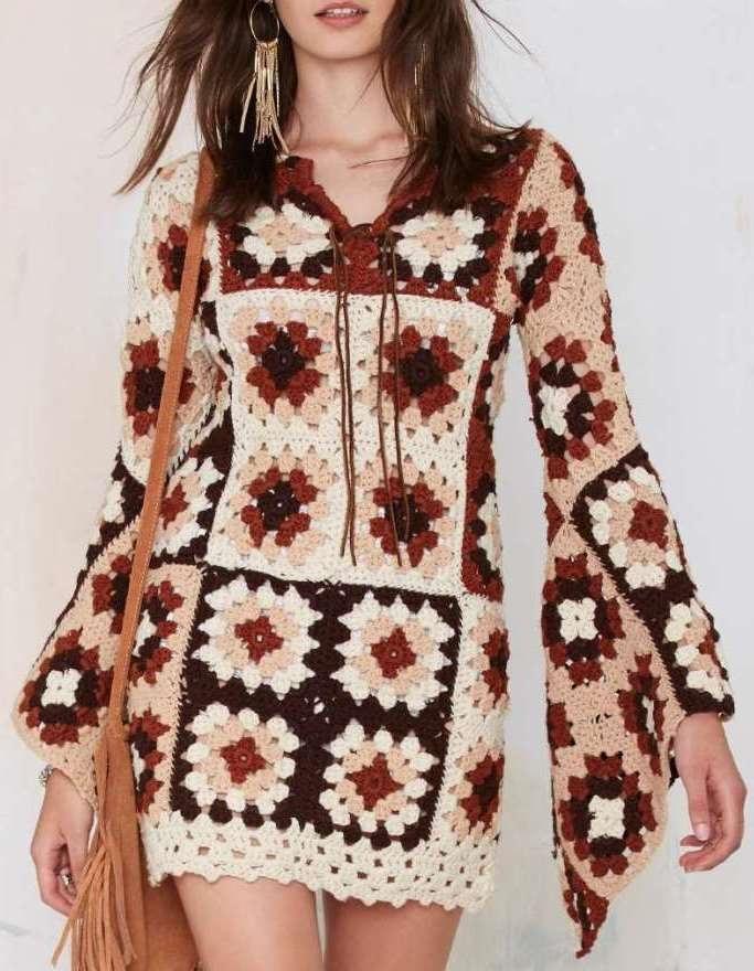 Crochet Granny Square Dress Patterns : Crochet dress PATTERN, granny squares dress pattern ...