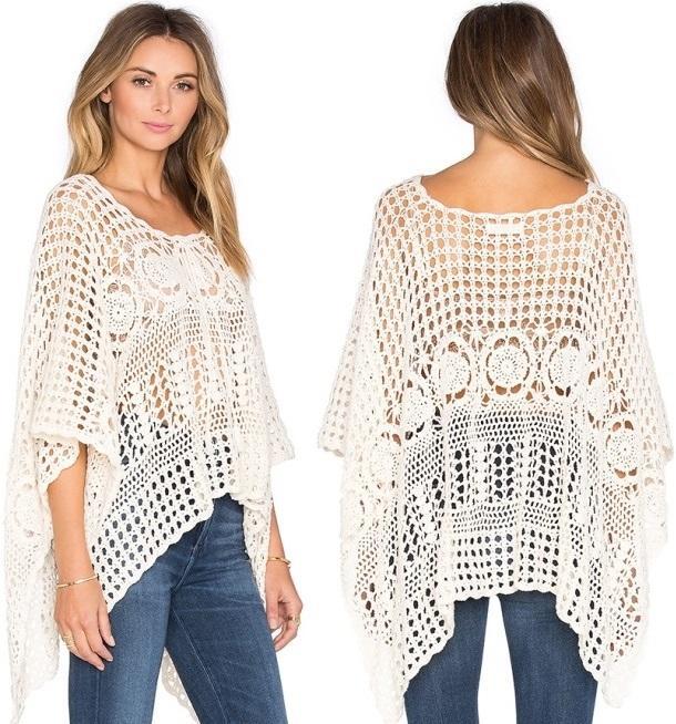 Crochet poncho PATTERN, lacy crochet designer poncho, boho top ...