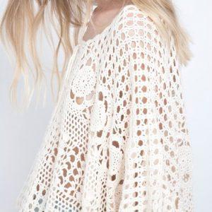 Crochet poncho PATTERN, lacy crochet designer top, boho poncho pattern.