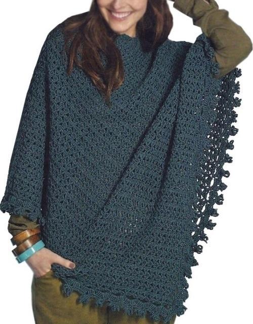 Crochet Poncho Pattern Warm Asymmetrical Boho Crochet Poncho