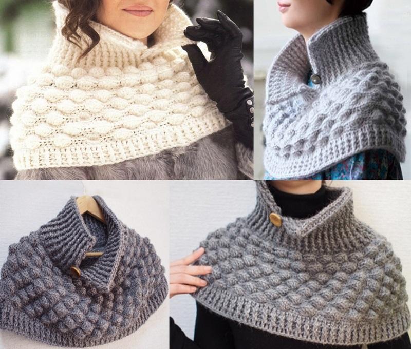 Crochet Poncho Pattern Removable Warm Crochet Collar Pattern Pdf