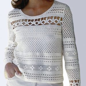 Crochet pullover PATTERN, casual tunic pattern, beach crochet top pattern PDF.
