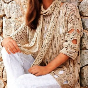 Crochet sweater PATTERN, casual tunic pattern, beach crochet top pattern PDF.