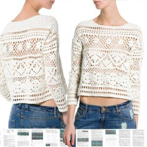Crochet sweater PATTERN, crochet top pattern, crochet crop sweater pattern.